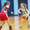 WARREN DILLAWAY / Star Beacon<br /> ALEX FERRANTE (11) of St. John dribbles up court as Badger's Harlee Logan defends on Saturday afternoon at Mahoney Gymnasium in Ashtabula.