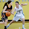 WARREN DILLAWAY / Star Beacon<br /> KRISTEN KEASLING (right) of Lakeside defends Bree White of Eastlake North on Saturday afternoon in Ashtabula Township..