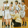 WARREN DILLAWAY / Star Beacon<br /> JEFF COMPAN, Pymatuning Valley girls basketball coach, talks to his team on Monday night during a home game with Maplewood.
