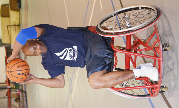 WARREN DILLAWAY / Star Beacon<br /> STEVEN CARTER of Sandusky works on a drill during a wheel chair basketball clinic at Spire Institute in Harpersfield Township on Saturday.