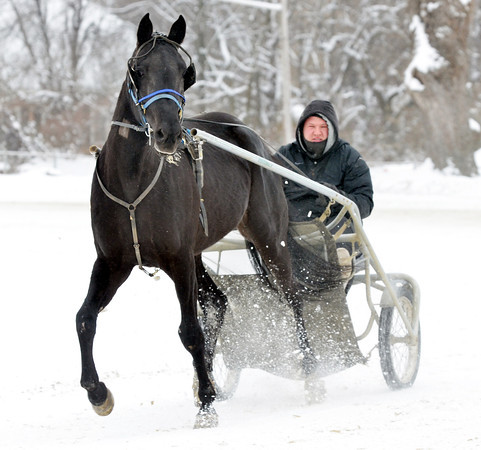 WARREN DILLAWAY / Star Beacon<br /> CORY DEYERMAND works out a horse at the Ashtabula County Fairgrounds on Tuesday afternoon in Jefferson.