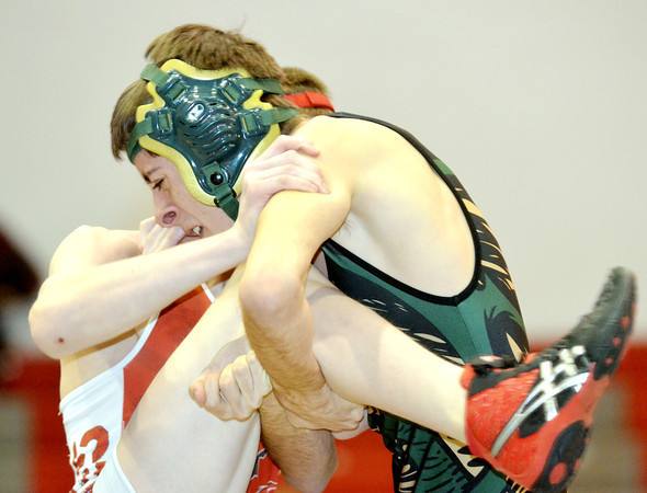 WARREN DILLAWAY / Star Beacon<br /> KYLER MCENDREE (face showing) of Lakeside wrestles Connor Requa of Geneva during a 113 pound bout at Geneva on Thursday night.