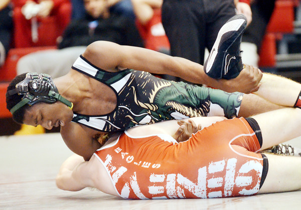 WARREN DILLAWAY / Star Beacon<br /> KEITH GRIFFIN (top) of Lakeside wrestles Jacob Rogerson of Geneva during a 138 pound bout at Geneva Thursday evening.