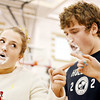 WARREN DILLAWAY / Star Beacon<br /> SAM HAMSKI (left), aa sophomore at Jefferson High School, warns a fellow competitor during a whipped cream bubble blowing contest.