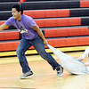 WARREN DILLAWAY / Star Beacon<br /> QUINCY HALL pulls Sydney Emerson, both seniors, during Reindeer Games at Jefferson High School.