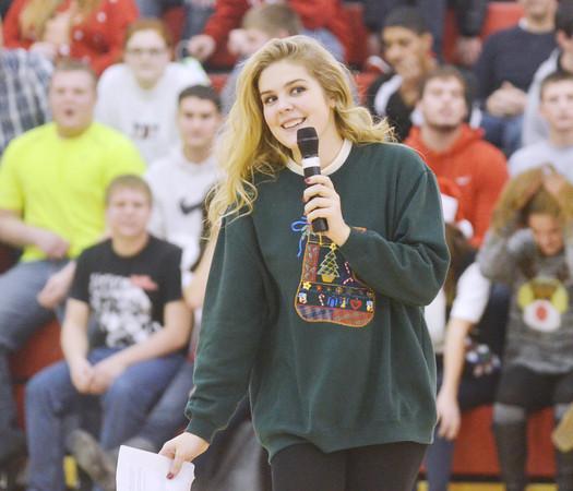 BERNADETTE GERAGHTY, a senior cheerleader at Jefferson High School, was one of the organizers of the Reindeer Games assembly at Jefferson High School.