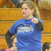 WARREN DILLAWAY / Star Beacon<br /> KIM TRISKETT, girls basketball coach at Grand Valley, questions a call on Saturday during the Conneaut Holiday Tournament.