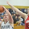 WARREN DILLAWAY / Star Beacon<br /> CARLY KAY of Conneaut (left) prepares to shoot as Carysa Cantrell of Ledgemont defends on Saturday during the Conneaut Holiday Tournament.