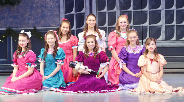 WARREN DILLAWAY / Star Beacon<br /> DANCERS IN the Ashtabula Arts Center's rendition of the Nutcracker include (from left front row) Ashley Platt, Amariah Wood, Miranda DiFranco, Gabriella Ennis and Claudia Smallwood and (from left back row) Jasmine Steighner, Daniella Studer and Alexandra Strawbridge.