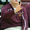 WARREN DILLAWAY / Star Beacon<br /> JEFF COMPAN, Pymatuning Valley girls basketball coach, gestures to his team on Monday evening during a home game with Champion.