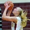 WARREN DILLAWAY / Star Beacon<br /> MEGAN STECH of Pymatuning Valley prepares to shoot on Monday evening during a home game with Champion.