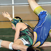 WARREN DILLAWAY / Star Beacon<br /> TYLER NEWSOME of Lakeside (top) goes for the pin on Tuesday evening during a 120 pound bout with Quintin Rosenlund of Euclid at Lakeside.