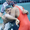 WARREN DILLAWAY / Star Beacon<br /> KYLE CONEL (left) of Lakeside wrestles Dartanaun Mango of Shaw on Tuesday evening during a 220 pound bout at Lakeside.