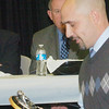WARREN DILLAWAY / Star Beacon<br /> JOHN GLAVICKAS of Grand Valley won the Star Beacon Coach of the Year Award Monday night during the Ashtabula County Touchdown Club Banquet at Mount Carmel Community Center in Ashtabula.
