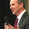 WARREN DILLAWAY / Star Beacon<br /> URBAN MEYER, Ashtabula resident and Ohio State football coach, spoke Monday evening during the Ashtabula County Touchdown Club Banquet at Mount Carmel Community Center in Ashtabula.