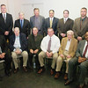 WARREN DILLAWAY / Star Beacon<br /> THE ASHTABULA County Football Hall of Fame 2012 Inductees and representatives include (from left front row) Lowell Moodt, Grand Valley 1989; Brian Laffey, Harbor 1959; Brian Gaines, Harbor 1964; Gary Lillvis, Harbor 1971; Ross Tittle representing his son Vaughn Tittle, Ashtabula 1961; Alvin Benton, Ashtabula 1968. (Second from left standing) Gordie Hitchcock, Pymatuning Valley 1989; Mark Wheeler, Conneaut 1981;  Rob Ellis, representing John Peaspanen, Rowe 1965; Tim Coy, Geneva 1973; Rick Malizia, Geneva, 1981; Brian Burke, representing Francis Burke, St. John 1963; Lou Wisnyai, Edgewood 1987 and Natalie Sesler, representing her father Jim Richards, Jefferson 2002.
