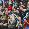 WARREN DILLAWAY / Star Beacon<br /> EDGEWOOD BASKETBALL fans cheer on the Warriors on Friday night during a home game with Notre Dame Cathedral Latin.