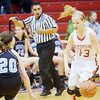 WARREN DILLAWAY / Star Beaco<br /> LINDSEY MAYLE of Geneva drives to the basket as Sydney Merk of Willoughby South defends  on Saturday afternoon at Geneva.