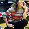WARREN DILLAWAY / Star Beacon<br /> NANCY BARBO, Geneva girls basketball coach, instructs   her team  on Saturday afternoon during a home game with Willoughby South.