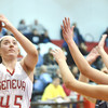 WARREN DILLAWAY / Star Beacon<br /> ANNALIESA FISTEK (45) of Geneva drives to the basket on Saturday during a home game with Willoughby South.