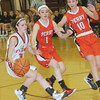 WARREN DILLAWAY / Star Beacon<br /> JESSICA BECKER of Jefferson (with ball) is defended by Gabby Sutyak (1) and Celeste Farrell, both of Perry, on Saturday evening during a Division II sectional game at Pymatuning Valley.