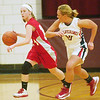 WARREN DILLAWAY / Star Beacon<br /> CARRIE PASCARELLA (left) of Edgewood looks for an open teammate as Nicole Leonette of West Geauga races up court on Monday during Division II sectional action at Pymatuning Valley.