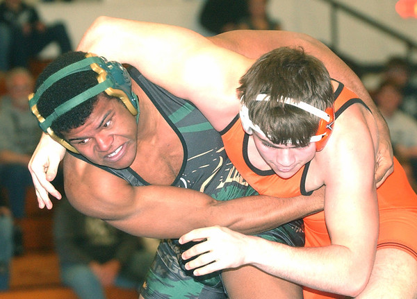 WARREN DILLAWAY / Star Beacon<br /> KYLE CONEL (left) of Lakeside wrestles Sean Kergan of Eastlake North on Saturday during a195 bout bout picks up  at the PAC wrestling meet at Madison.