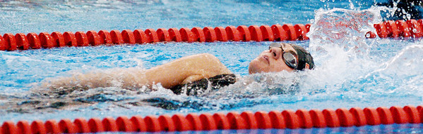 WARREN DILLAWAY / Star Beacon<br /> GIANA VARCHETTO of Edgewood competes in the 100 yard backstroke Saturday during the Ashtabula County Invitational at Spire Institute in Harpersfield Township.