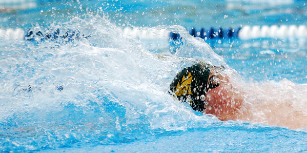 WARREN DILLAWAY / Star Beacon<br /> CHIP RANCK of Lakeside competes in the Boys 100 yard backstroke during the Ashtabula County Invitational Saturday afternoon at Spire Institute in Harpersfield Township.