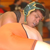 WARREN DILLAWAY / Star Beacon<br /> KYLE CONEL (topt) of Lakeside wrestles Sean Kergan of Eastlake North on Saturday during a195 bout bout picks up  at the PAC wrestling meet at Madison.
