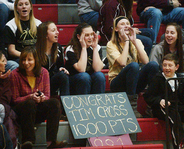 WARREN DILLAWAY / Star Beacon PYMATUINING VALLEY fans were prepared for Tim Cross's 1,000the career point on Tuesday night at Geneva.