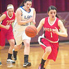 WARREN DILLAWAY / Star Beacon<br /> GABBY SUTYAK (1) of Perry runs the floor with Lizzy Konitsney of Lakeview (back middle) and Pirate Emily Clark (33) following the play on Thursday night during Division II sectional action at Pymatuning Valley.