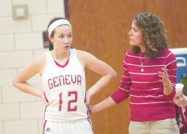 WARREN DILLAWAY / Star Beaco<br /> NANCY BARBO talks with Alyssa Scott (12)  on Thursday evening during a Division II sectional final at Pymatuning Valley.