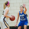 WARREN DILLAWAY / Star Beacon<br /> KAYLA SELLITTO (23) of  Grand Valley defends Geena Gabriel (21) of Pymatuning Valley Monday evening in Andover Township.