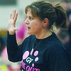 WARREN DILLAWAY / Star Beacon<br /> KIM TRISKETT, Grand Valley girls basketball coach, signals to a player on Monday during a game at Pymatuning Valley.