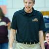 WARREN DILLAWAY / Star Beacon<br /> RYAN SHONTZ, Pymatuning Valley boys basketball coach, reacts during a home game Friday night with Grand Valley.