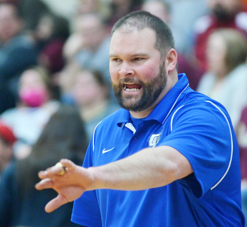WARREN DILLAWAY / Star Beacon<br /> MATT BRUMIT, Grand Valley basketball coach, reacts to a play on Tuesday night during a Division III sectionall semifinal at Pymatuning Valley.
