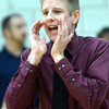 WARREN DILLAWAY / Star Beacon<br /> RYAN SHONTZ, Pymatuning Valley basketball coach, reacts to a play on Tuesday night during a Division III sectionall semifinal at Pymatuning Valley.