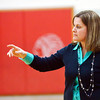WARREN DILLAWAY / Star Beacon<br /> KIM TRISKETT, Grand Valley girls basketball coach, gestures to her team on Monday evening during a game at Edgewood.