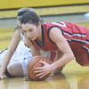 WARREN DILLAWAY / Star Beacon<br /> DEANNA COMP of Jefferson dives for a loose ball with a Riverside player on Tuesday evening in Painesville Township.