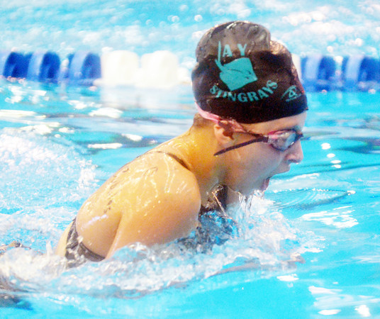MAGGIE HOCHRAN of the Ashtabula YMCA Stingrays swims the breast stroke during the 11-12 medley relay at the YMCA Divisional Swim Meet on Saturday at Spire Institute in Harpersfield Township.