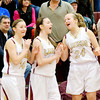 WARREN DILLAWAY / Star Beacon<br /> PYMATUNING BASKETBALL players (from left) Katelynn Olenik, Olivia Holdenand Karissa Hartzell celebrate in the waning seconds of a home Laker win over Lakeview on Saturday.