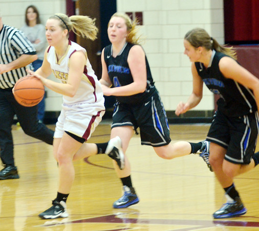 WARREN DILLAWAY / Star Beacon<br /> GEENA GABRIEL (left) of Pymatuning Valley dribbles up court with Rachelle Calvin (4) and Alli Pavlik (right) in hot pursuit on Saturday in Andover Township.