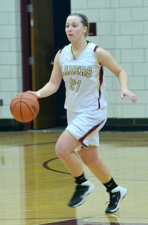 WARREN DILLAWAY / Star Beacon<br /> GEENA GABRIEL of Pymatuning Valley dribbles up court on Saturday during a home game with Lakeview.