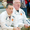 WARREN DILLAWAY / Star Beacon<br /> JEFF COMPAN, Pymatuning Valley girls basketball coach, (left) and his assistant Steve Urcheck led the Lakers to a home victory over Lakeview on Saturday.