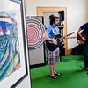 WARREN DILLAWAY / Star Beacon<br /> SEAN AND Mark (right) Kaschak perform at an art show during The Arts on Bridge Street Saturday in Ashtabula Harbor.