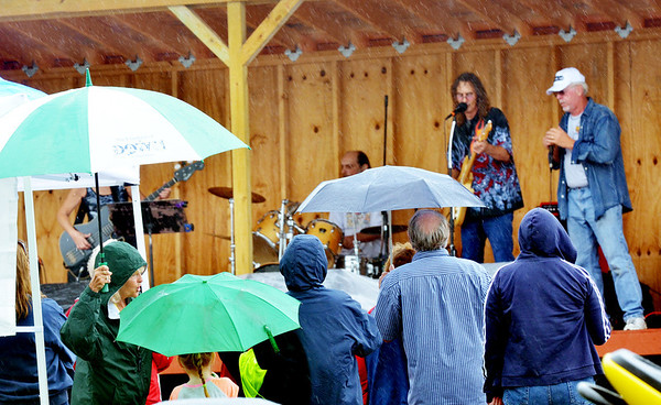 WARREN DILLAWAY / Star Beacon<br /> MUSIC FANS use umbrellas to stay try while listening to entertainment at the Conneaut Public Dockfest on Saturday.