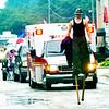 WARREN DILLAWAY / Star Beacon<br /> CONNOR BACON walks on stilts during the Multi-Cultural Festival parade on Main Avenue in Ashtaubla on Saturday.