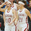 WARREN DILLAWAY / Star Beacon<br /> SARAH DEPP (10) reacts with relief with  her sister Becky after the Eagles eked out a last second home with against Madison.