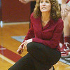 WARREN DILLAWAY / Star Beacon<br /> NANCY BARBO, Geneva girls basketball coach, reacts to the action on Saturday afternoon during a home game with Madison.